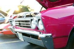 Classic retro  vintage pink car.  Auto Show Royalty Free Stock Photos