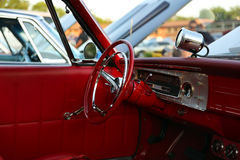 Classic retro  vintage red car. Сar interior. Stock Image