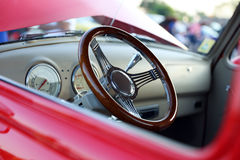 Classic retro vintage red car. Сar interior Royalty Free Stock Images