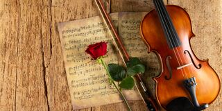 Free Classic Retro Violin Music String Instrumt On Old Music Note Sheet Paper With Red Rose Flower Old Oak Wood Wooden Panorama Copy Royalty Free Stock Images - 179412089