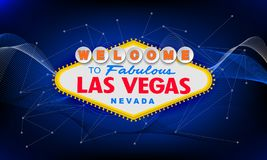 Classic retro Welcome to Las Vegas sign on colorful background. Simple modern vector style illustration. Blue royalty free illustration