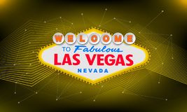 Classic retro Welcome to Las Vegas sign on colorful background. Simple modern vector style illustration. vector illustration