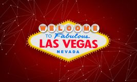 Classic retro Welcome to Las Vegas sign on colorful background. Simple modern vector style illustration. Red stock illustration