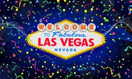 Classic retro Welcome to Las Vegas sign on colorful new year background. Happy new year 2019 background. Simple modern vector illustration