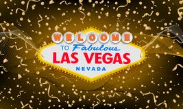 Classic retro Welcome to Las Vegas sign on colorful new year background. Happy new year 2019 gold background. Simple stock illustration