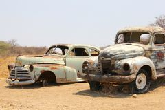 Abandoned Classic retro pickup vehicles, Namibia Stock Image