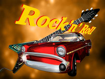 Classic Rock. A red chevy, on the foreground of an electric guitar on a golden background and text rock'n' roll on it Royalty Free Stock Photo