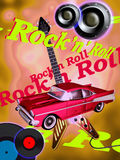 Classic Rock. A red chevy, bass loudspeakers and vinyl discs on the foreground of an electric guitar on a colored background and text rock'n' roll on it Royalty Free Stock Photography