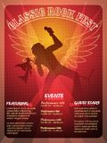 Classic Rock Fest poster design. In a striking red and orange of a vocalist performing onstage at a concert with wings behind him and menus templates for Events Royalty Free Stock Photos