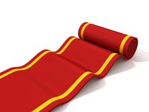 Classic rolling red carpet on white background Stock Photo