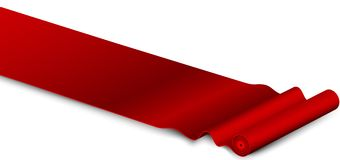 Classic rolling red carpet on white background Royalty Free Stock Photography