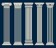 Classic roman, greek architecture columns vector set. Sculpture column for decoration, illustration of ancient historical columns Stock Photos
