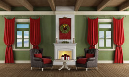 Classic room with christmas decoration Stock Photos