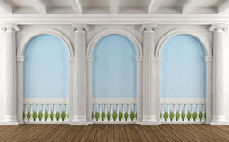 Classic room with colonnade. And balustrade painted on the wall - 3D Rendering Royalty Free Stock Images