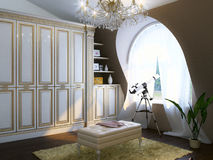 Classic Room Interior With Luxury Furniture And Telescope Royalty Free Stock Photo