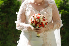 Classic Rose Bouquet and Bride Royalty Free Stock Photos