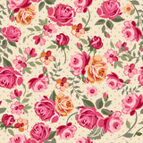 Classic roses. Classic pink roses over a dotty background ~ seamless Royalty Free Stock Photos