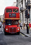 Classic routemaster double decker bus. May 24,2012 in London. The traditional red Routemaster has become a famous feature of London Stock Images