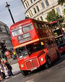Classic routemaster double decker bus. May 24,2012 in London. The traditional red Routemaster has become a famous feature of London Royalty Free Stock Image