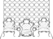 Classic royal furniture chairs set Stock Photo