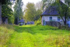 Classic rural landscape, small wooden houses