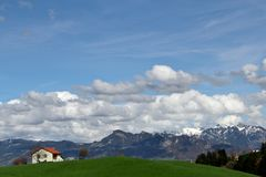 A classic rural landscape in Switzerland stock photos