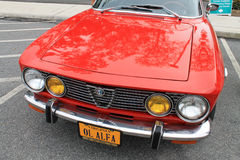 Classic 1970s alfa front view grill headlamps and hood Stock Photography