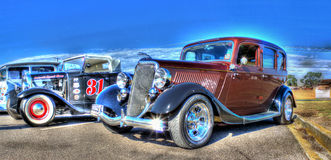 Classic 1920s American Saloon car. 1920s Vintage cars on display at car show stock photo