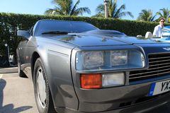 Classic 80s aston martin sports car front corner. Front corner detail. Aston Martin V8 Zagato front quarter view. Parked at the Breakers, West Palm Beach, south stock photo