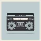 Classic 80s boombox on Retro Background Vector Royalty Free Stock Photo
