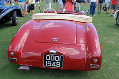 Classic 1940s british sporst car. Red 1948 Vauxhall prototype roadster sports car at concours in south florida. rear view of deck, fenders and tail lamps and Royalty Free Stock Image