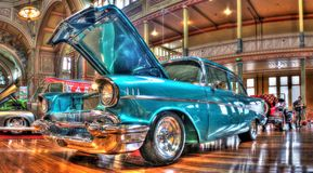 Classic 1950s Chevy. Blue 1957 Chevy on display at the Victorian Hot Rod Show held in Melbourne Australia Stock Images