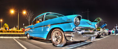 Classic 1950s Chevy at night Stock Photos