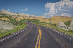 Classic S-Curve Highway in the Badlands Royalty Free Stock Photos