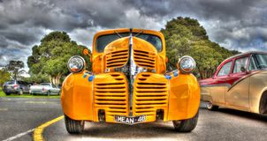 Classic 1940s Dodge pick up truck. Classic American 1948 yellow Dodge pickup truck on display at the 2016 Greazefest a car and bike show held in Melbourne stock images