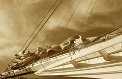 Classic Sailboat. Located on Maryland Eastern shore. Sepia tone royalty free stock photography