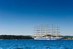 Classic sailboat in Adriatic harbor. Classic sailboat anchored in Adriatic harbor. Turistic excursion ship Stock Image