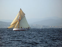 Classic sailing yacht. Classic historic sailing yachts in regatta at voiles de St-Tropez 2009 Stock Photo