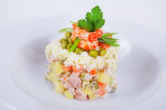 Classic salad decorated with shrimp and parsley to the menu on a white background Royalty Free Stock Photos