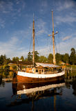 Classic salboat moored in Brentwood Bay, BC Stock Photo