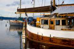 Classic salboats moored in Brentwood Bay, BC Royalty Free Stock Images