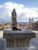 Classic Samson & the Lion Fountain, Rampart Garden, Prague Castle, Czech Republic. Pictured is a classic Samson and the Lion stone fountain in the Rampart Garden royalty free stock photos