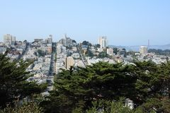 Classic San Francisco. View of downtown San Francisco, Golden Gate Bridge, and Lombard Street Royalty Free Stock Photos