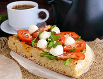 Classic sandwich with mozzarella, fresh tomatoes, arugula and sesame seeds on toast Royalty Free Stock Photos