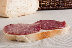 Classic sandwich with salami Royalty Free Stock Photos