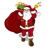 Classic Santa Claus with sack full of gifts Royalty Free Stock Photos