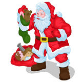 Classic Santa with Gifts and Toys Vector Illustration Stock Photo