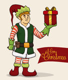 Classic Santa's Helper with Christmas Gift, Vector Illustration stock photography