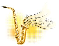 Classic saxophone with music notes Royalty Free Stock Image