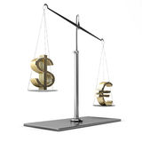 Classic scales of justice with euro and dollar symbols. On white background Stock Image